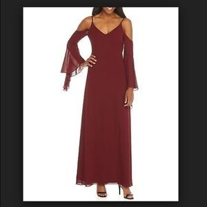 NWT Betsy&Adam Burgundy Cold Shoulder Gown Size 8